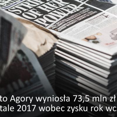 Strata netto Agory wyniosła 73,5 mln zł w IV kw. 2017