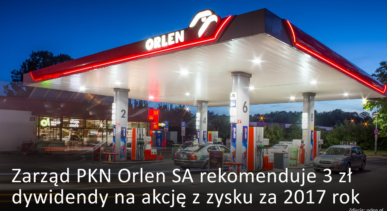 PKN Orlen rekomenduje 3 zł dywidendy na akcję