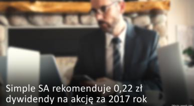 Simple rekomenduje 0,22 zł dywidendy na akcję